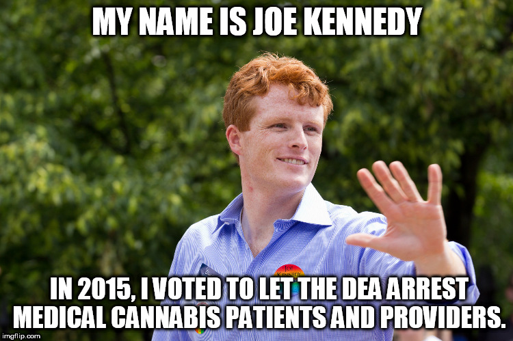 joe kennedy | MY NAME IS JOE KENNEDY IN 2015, I VOTED TO LET THE DEA ARREST MEDICAL CANNABIS PATIENTS AND PROVIDERS. | image tagged in marijuana | made w/ Imgflip meme maker