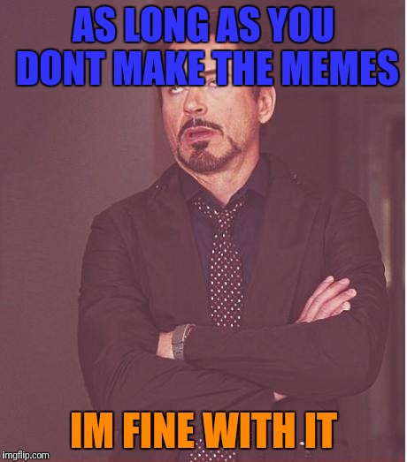 Face You Make Robert Downey Jr Meme | AS LONG AS YOU DONT MAKE THE MEMES IM FINE WITH IT | image tagged in memes,face you make robert downey jr | made w/ Imgflip meme maker