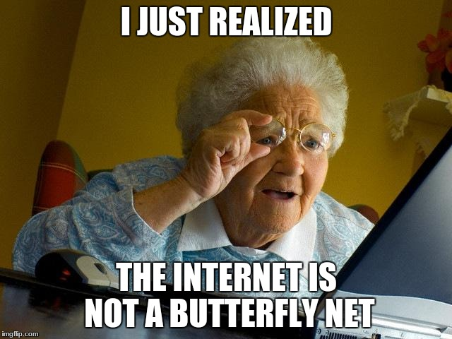 Grandma Finds The Internet Meme | I JUST REALIZED THE INTERNET IS NOT A BUTTERFLY NET | image tagged in memes,grandma finds the internet | made w/ Imgflip meme maker