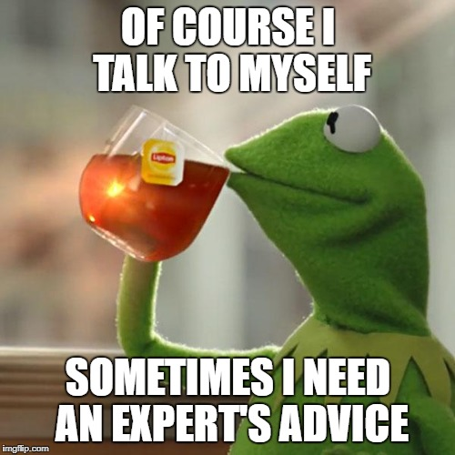 But Thats None Of My Business Meme | OF COURSE I TALK TO MYSELF SOMETIMES I NEED AN EXPERT'S ADVICE | image tagged in memes,but thats none of my business,kermit the frog | made w/ Imgflip meme maker