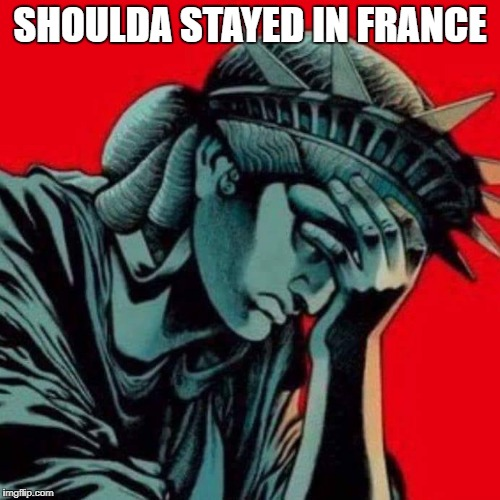 Shoulda Stayed In France | SHOULDA STAYED IN FRANCE | image tagged in statue of liberty,the statue of liberty weeps,statue of liberty crying,statue of liberty face palm | made w/ Imgflip meme maker