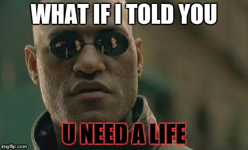 Matrix Morpheus Meme | WHAT IF I TOLD YOU U NEED A LIFE | image tagged in memes,matrix morpheus | made w/ Imgflip meme maker