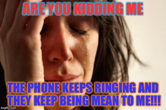 First World Problems Meme | ARE YOU KIDDING ME THE PHONE KEEPS RINGING AND THEY KEEP BEING MEAN TO ME!!! | image tagged in memes,first world problems | made w/ Imgflip meme maker