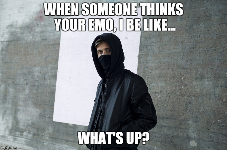 Alan Walker | WHEN SOMEONE THINKS YOUR EMO, I BE LIKE... WHAT'S UP? | image tagged in alan walker | made w/ Imgflip meme maker