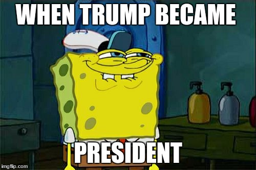 Dont You Squidward Meme | WHEN TRUMP BECAME PRESIDENT | image tagged in memes,dont you squidward | made w/ Imgflip meme maker