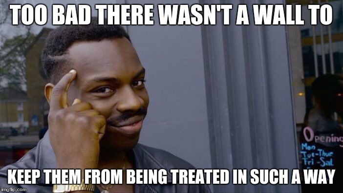 Roll Safe Think About It Meme | TOO BAD THERE WASN'T A WALL TO KEEP THEM FROM BEING TREATED IN SUCH A WAY | image tagged in memes,roll safe think about it | made w/ Imgflip meme maker