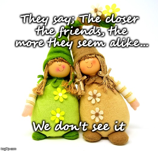 Close Friends | They say; The closer the friends, the more they seem alike... We don't see it | image tagged in friends,friendship,life,family,love,happiness | made w/ Imgflip meme maker
