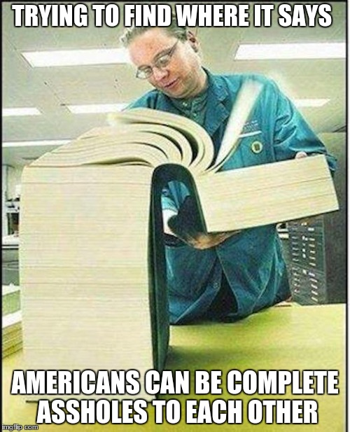 big book | TRYING TO FIND WHERE IT SAYS AMERICANS CAN BE COMPLETE ASSHOLES TO EACH OTHER | image tagged in big book,america,asshole,laws,fuck | made w/ Imgflip meme maker