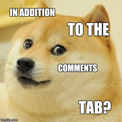 Doge Meme | IN ADDITION TO THE COMMENTS TAB? | image tagged in memes,doge | made w/ Imgflip meme maker