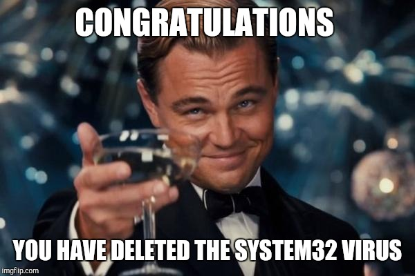Leonardo Dicaprio Cheers Meme | CONGRATULATIONS YOU HAVE DELETED THE SYSTEM32 VIRUS | image tagged in memes,leonardo dicaprio cheers | made w/ Imgflip meme maker