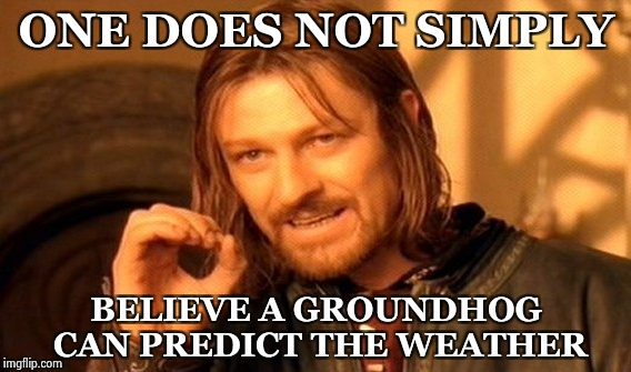 6 more weeks of winter whether you like it or not | ONE DOES NOT SIMPLY BELIEVE A GROUNDHOG CAN PREDICT THE WEATHER | image tagged in memes,one does not simply,groundhog day,winter is here,sorry | made w/ Imgflip meme maker