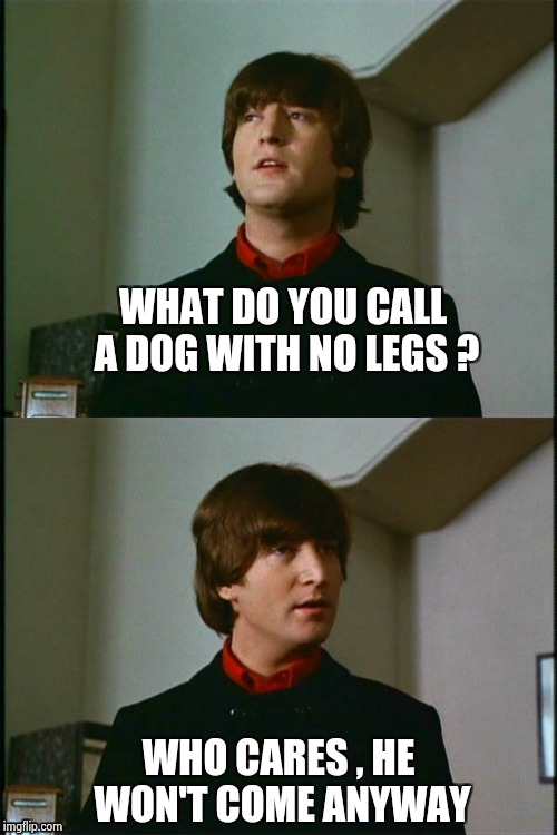 Philosophical John | WHAT DO YOU CALL A DOG WITH NO LEGS ? WHO CARES , HE WON'T COME ANYWAY | image tagged in philosophical john | made w/ Imgflip meme maker