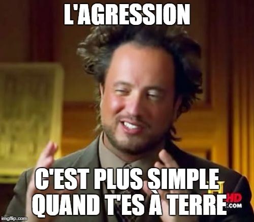 Ancient Aliens Meme | L'AGRESSION C'EST PLUS SIMPLE QUAND T'ES À TERRE | image tagged in memes,ancient aliens | made w/ Imgflip meme maker