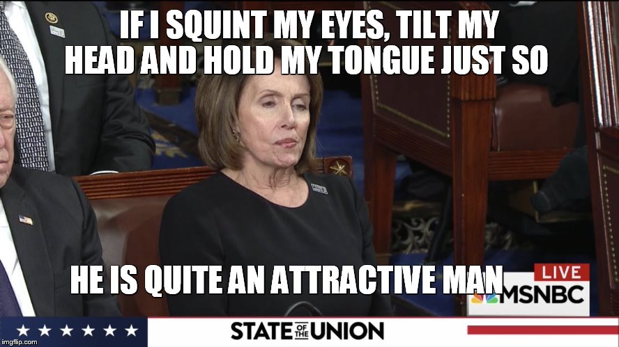 IF I SQUINT MY EYES, TILT MY HEAD AND HOLD MY TONGUE JUST SO HE IS QUITE AN ATTRACTIVE MAN | image tagged in pelosi 2018 sotu | made w/ Imgflip meme maker