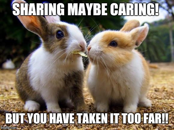 Sharing is Caring 2 | SHARING MAYBE CARING! BUT YOU HAVE TAKEN IT TOO FAR!! | image tagged in sharing is caring 2 | made w/ Imgflip meme maker