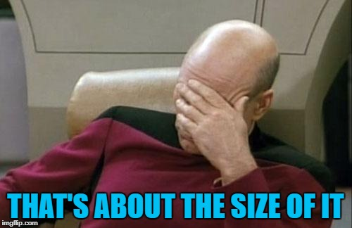Captain Picard Facepalm Meme | THAT'S ABOUT THE SIZE OF IT | image tagged in memes,captain picard facepalm | made w/ Imgflip meme maker