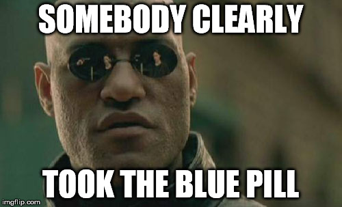 Matrix Morpheus Meme | SOMEBODY CLEARLY TOOK THE BLUE PILL | image tagged in memes,matrix morpheus | made w/ Imgflip meme maker