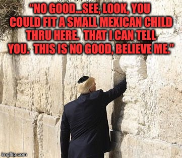 "Donald Trump Wall  | ""NO GOOD...SEE, LOOK, YOU COULD FIT A SMALL MEXICAN CHILD THRU HERE.  THAT I CAN TELL YOU.  THIS IS NO GOOD, BELIEVE ME."" 