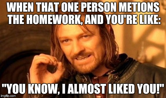 "One Does Not Simply Meme | WHEN THAT ONE PERSON METIONS THE HOMEWORK, AND YOU'RE LIKE: ""YOU KNOW, I ALMOST LIKED YOU!"" 