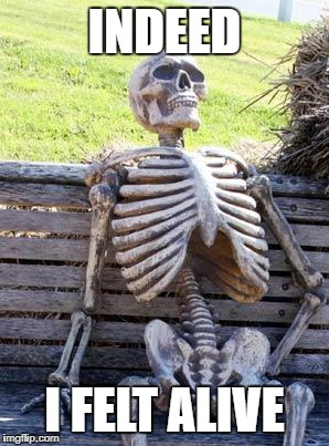 Waiting Skeleton Meme | INDEED I FELT ALIVE | image tagged in memes,waiting skeleton | made w/ Imgflip meme maker