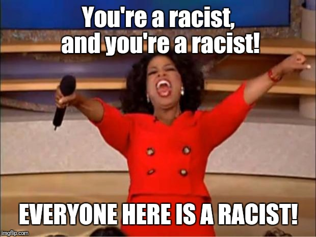 Oprah You Get A Meme | You're a racist, and you're a racist! EVERYONE HERE IS A RACIST! | image tagged in memes,oprah you get a | made w/ Imgflip meme maker