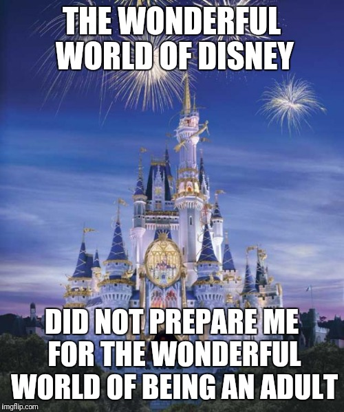 Disney | THE WONDERFUL WORLD OF DISNEY DID NOT PREPARE ME FOR THE WONDERFUL WORLD OF BEING AN ADULT | image tagged in disney | made w/ Imgflip meme maker