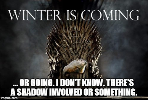 WINTER IS COMING... or going | ... OR GOING. I DON'T KNOW. THERE'S A SHADOW INVOLVED OR SOMETHING. | image tagged in game of thrones,iron throne,groundhog day | made w/ Imgflip meme maker