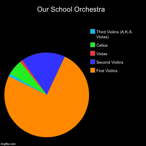 My School Orchestra | Our School Orchestra  | First Violins, Second Violins, Violas, Cellos, Third Violins (A.K.A. Violas) | image tagged in funny,pie charts,orchestra | made w/ Imgflip pie chart maker