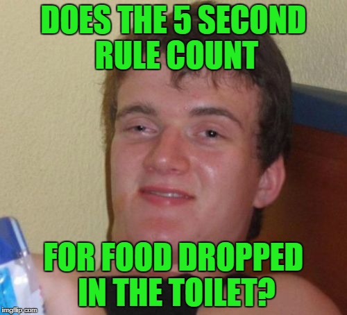 asking for a friend | DOES THE 5 SECOND RULE COUNT FOR FOOD DROPPED IN THE TOILET? | image tagged in memes,10 guy | made w/ Imgflip meme maker