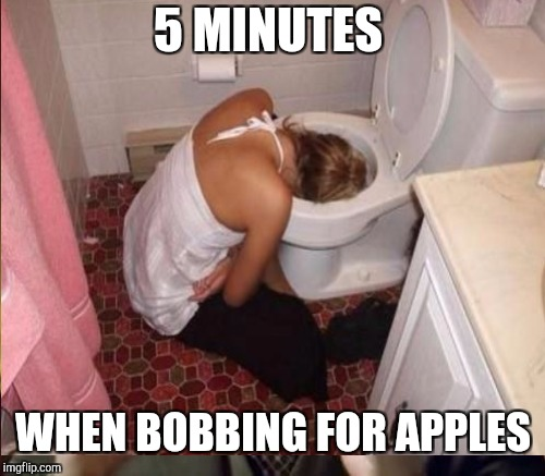 5 MINUTES WHEN BOBBING FOR APPLES | made w/ Imgflip meme maker