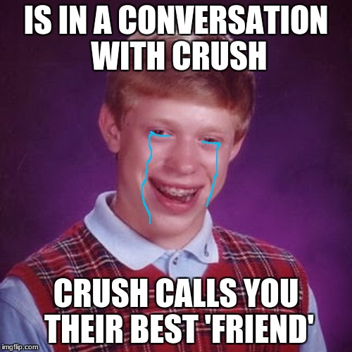 bad luck brian | IS IN A CONVERSATION WITH CRUSH CRUSH CALLS YOU THEIR BEST 'FRIEND' | image tagged in bad luck brian | made w/ Imgflip meme maker