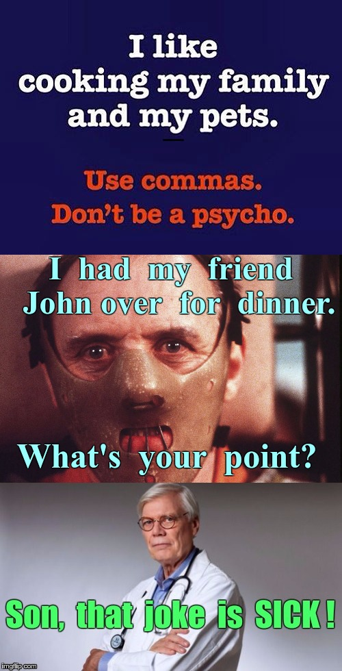 Invited a Friend for Dinner ... | I like cooking my family and my pets. Use commas. Don't be a psycho. I  had  my  friend  John over  for  dinner. What's  your  point? Son, t | image tagged in memes,hannibal lecter,dinner invitation,hospitality,doctor | made w/ Imgflip meme maker