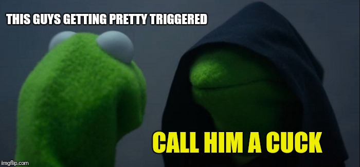 Evil Kermit Meme | THIS GUYS GETTING PRETTY TRIGGERED CALL HIM A CUCK | image tagged in memes,evil kermit | made w/ Imgflip meme maker