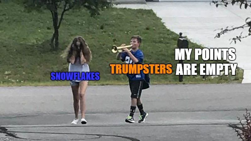 Trumpet Boy Object Labeling | SNOWFLAKES TRUMPSTERS MY POINTS ARE EMPTY | image tagged in trumpet boy object labeling | made w/ Imgflip meme maker