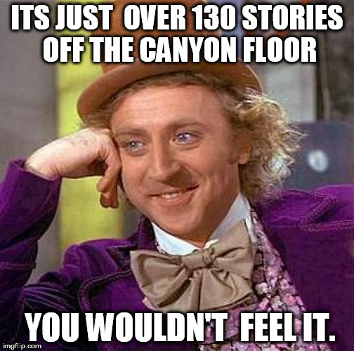 Creepy Condescending Wonka Meme | ITS JUST  OVER 130 STORIES OFF THE CANYON FLOOR YOU WOULDN'T  FEEL IT. | image tagged in memes,creepy condescending wonka | made w/ Imgflip meme maker