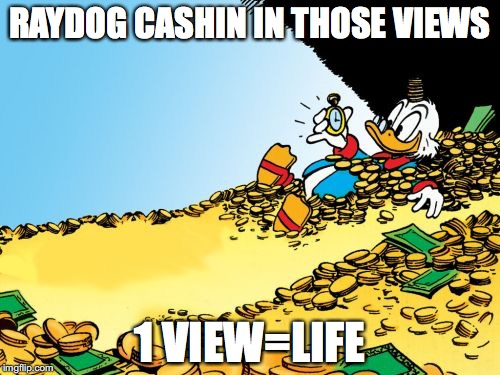 Raydog gl | RAYDOG CASHIN IN THOSE VIEWS 1 VIEW=LIFE | image tagged in memes,scrooge mcduck,views,life,cash,bling | made w/ Imgflip meme maker