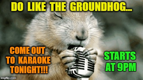 Groundhog Karaoke | DO  LIKE  THE  GROUNDHOG... COME OUT TO  KARAOKE  TONIGHT!!! STARTS AT 9PM | image tagged in groundhog,karaoke | made w/ Imgflip meme maker