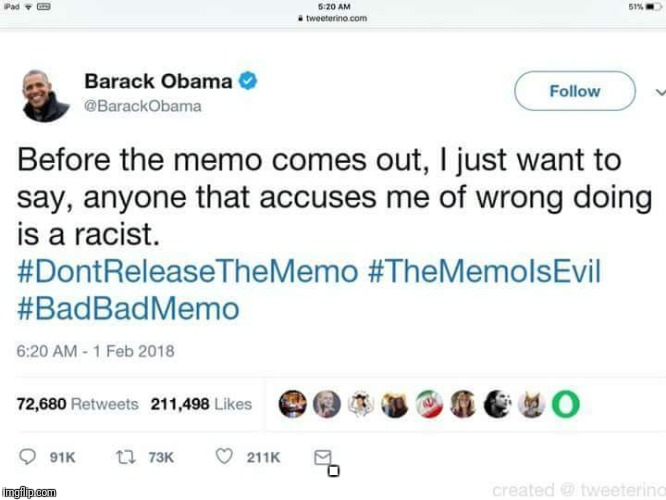 Oh no, the memo! | . | image tagged in memo,obama,trump russia collusion,hillary clinton | made w/ Imgflip meme maker