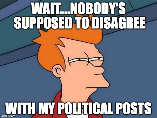 Futurama Fry Meme | WAIT....NOBODY'S SUPPOSED TO DISAGREE WITH MY POLITICAL POSTS | image tagged in memes,futurama fry | made w/ Imgflip meme maker