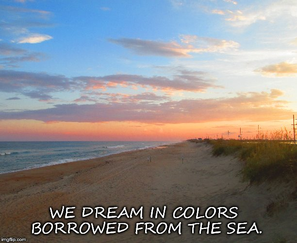 WE DREAM IN COLORS BORROWED FROM THE SEA. | image tagged in beach | made w/ Imgflip meme maker