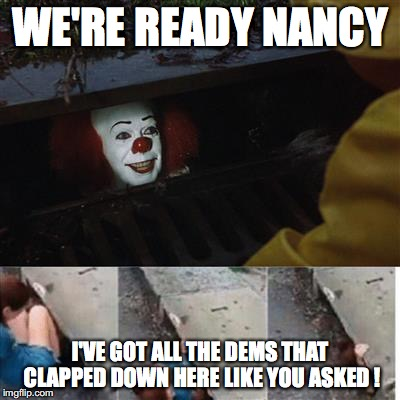 pennywise in sewer | WE'RE READY NANCY I'VE GOT ALL THE DEMS THAT CLAPPED DOWN HERE LIKE YOU ASKED ! | image tagged in pennywise in sewer | made w/ Imgflip meme maker