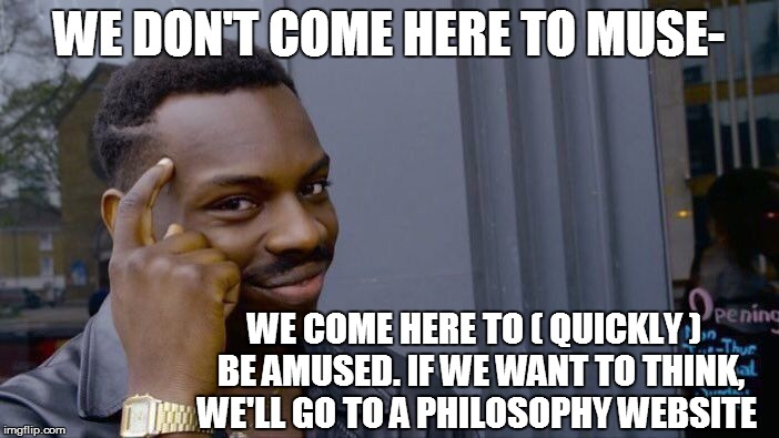 Roll Safe Think About It Meme | WE DON'T COME HERE TO MUSE- WE COME HERE TO ( QUICKLY )  BE AMUSED. IF WE WANT TO THINK, WE'LL GO TO A PHILOSOPHY WEBSITE | image tagged in memes,roll safe think about it | made w/ Imgflip meme maker
