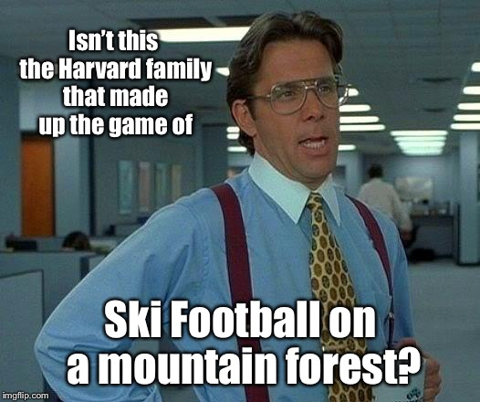 That Would Be Great Meme | Isn't this the Harvard family that made up the game of Ski Football on a mountain forest? | image tagged in memes,that would be great | made w/ Imgflip meme maker