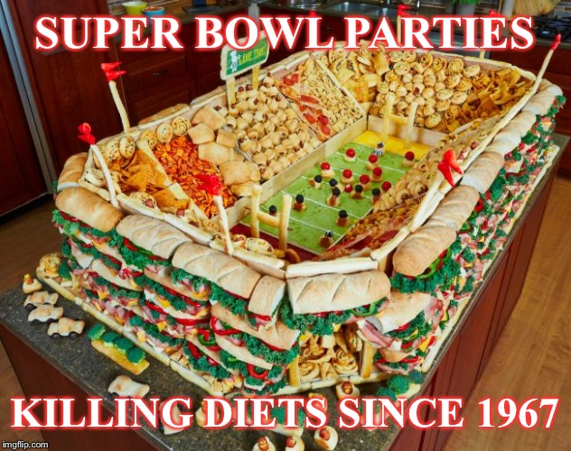 National Food Lust | SUPER BOWL PARTIES KILLING DIETS SINCE 1967 | image tagged in superbowl,diets,nfl,football,food,dieting | made w/ Imgflip meme maker
