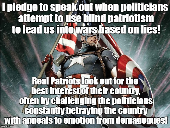 Captain America Flag Shield | I pledge to speak out when politicians attempt to use blind patriotism to lead us into wars based on lies! Real Patriots look out for the be | image tagged in captain america flag shield,patriotism,war,antiwar | made w/ Imgflip meme maker