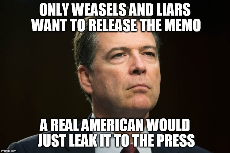 weasels and liars | ONLY WEASELS AND LIARS WANT TO RELEASE THE MEMO A REAL AMERICAN WOULD JUST LEAK IT TO THE PRESS | image tagged in comey | made w/ Imgflip meme maker