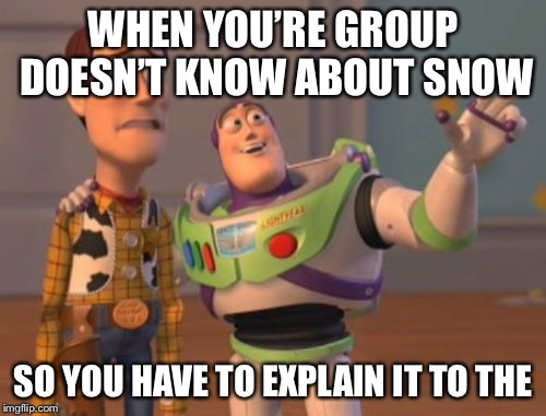 X, X Everywhere Meme | WHEN YOU'RE GROUP DOESN'T KNOW ABOUT SNOW SO YOU HAVE TO EXPLAIN IT TO THE | image tagged in memes,x,x everywhere,x x everywhere | made w/ Imgflip meme maker