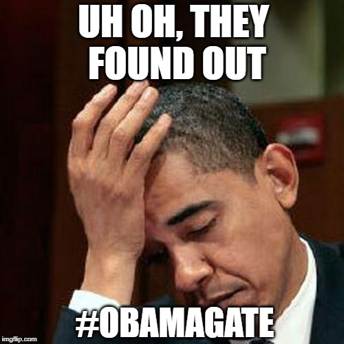 Obama Facepalm 250px | UH OH, THEY FOUND OUT #OBAMAGATE | image tagged in obama facepalm 250px | made w/ Imgflip meme maker