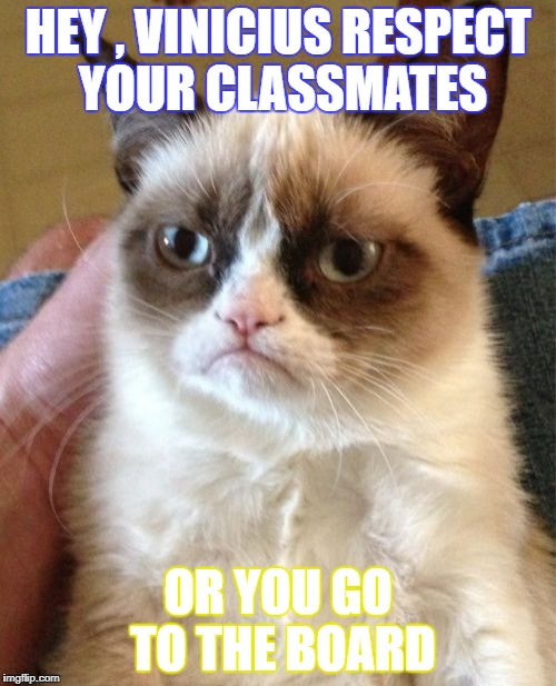Grumpy Cat Meme | HEY , VINICIUS RESPECT YOUR CLASSMATES OR YOU GO TO THE BOARD | image tagged in memes,grumpy cat | made w/ Imgflip meme maker