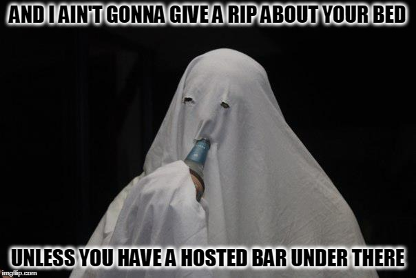 AND I AIN'T GONNA GIVE A RIP ABOUT YOUR BED UNLESS YOU HAVE A HOSTED BAR UNDER THERE | made w/ Imgflip meme maker